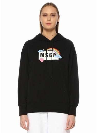 MSGM MSGM  Kapüşonlu Logolu Sweatshirt 101602561 Siyah